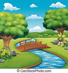 橋, 公園, 現場, 背景, 横切って