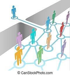 橋, 参加しなさい, ネットワーク, 合併, 会員, 多様