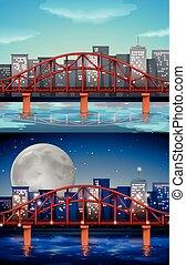 橋, 夜, 光景, 日, 都市