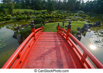 橋, 庭, シンガポール, 美化される, 日本語, 伝統的である, 赤, グラウンド