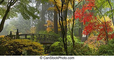 橋, 庭, 木製である, パノラマ, 日本語, 秋