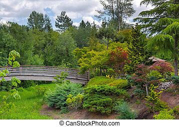 橋, 庭, 木製である, 島, 日本語, フィート, tsuru