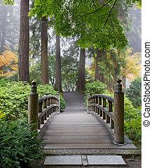 橋, 庭, 木製である, 日本語, 朝, フィート, 霧が濃い