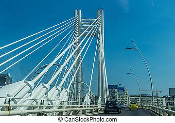 橋, 渡ること, 自動車, 現代