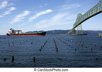 橋, 渡ること, astoria, ship.