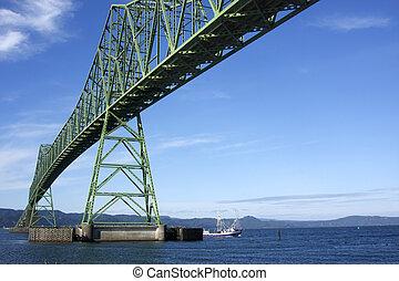 橋, 渡ること, boat., astoria, &