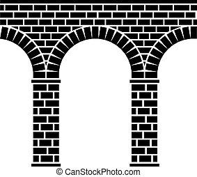 橋, 石, 古代, 水路, 陸橋, seamless, ベクトル