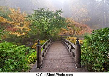 橋, 秋, 月, 霧が濃い, 朝