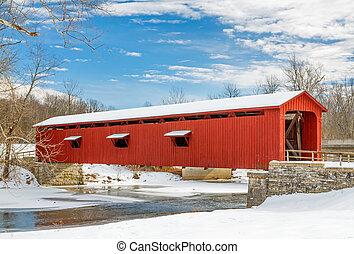 橋, 雪が多い, 赤, カバーされた