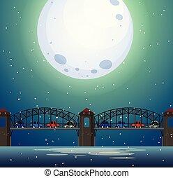 橋, 風景, 夜