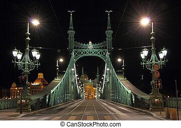 橋, night., ブダペスト, 照らされた, 自由