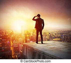 機会, ビジネス, 新しい, 見る, 未来, ビジネスマン