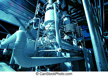 機械類, チューブ, 蒸気, 力, タービン, パイプ, 植物