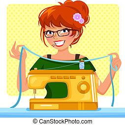 機械, 女の子, 裁縫