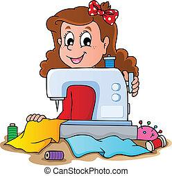 機械, 女の子, 裁縫, 漫画