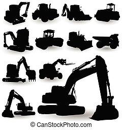 機械, 建築工事, シルエット