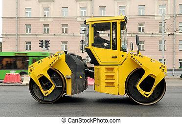 機械, 黄色, アスファルト, 舗装