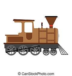 機関車, 古い, イラスト, 漫画, ベクトル, 蒸気