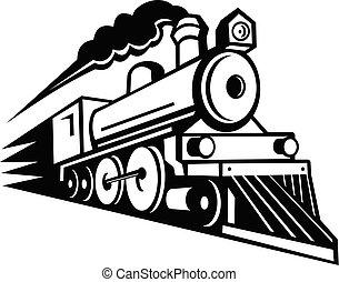 機関車, 白, 黒, 前方へ, 蒸気, スピード違反, レトロ, マスコット