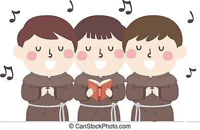 歌うこと, 修道士, 子供, イラスト