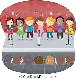 歌うこと, 子供, onstage