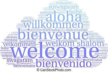 歓迎, インターナショナル, 単語, 雲