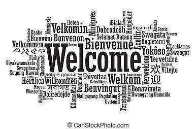 歓迎, 単語, 雲, イラスト