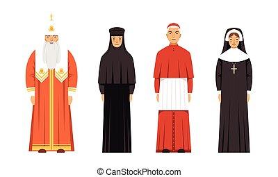 正統, カトリック教, 人々, ベクトル, 修道女, イラスト, 枢機卿, 衣服, コレクション, 特徴, 家長, 伝統的である, 宗教