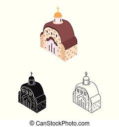 正統, シンボル, オブジェクト, web., 隔離された, コレクション, 教会, icon., チャペル, 株