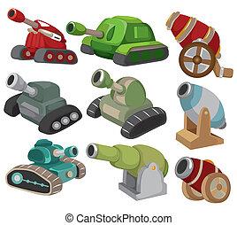 武器, セット, tank/cannon, 漫画, アイコン