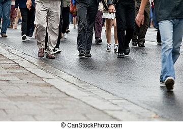 歩くこと, グループ, 群集, 人々, (motion, -, 一緒に, blur)