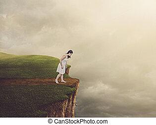 歩くこと, 女, cliff.
