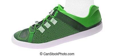 歩くこと, 靴, 隔離された, 緑の背景, 白, スポーツ
