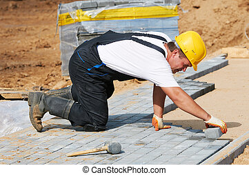 歩道, 建設, 舗装, 仕事