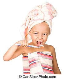 歯ブラシ, 女の子, 幸せ