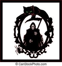死, 恐怖, 黒人のキャット, siluet, フレーム, 上, halloween., 背景, うそ, 大鎌, 白