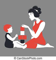 母, シルエット, 遊び, 美しい, toys., 赤ん坊, 幸せ, 日, 母