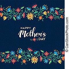 母, パターン, レトロ, 背景, 花, 日, 幸せ