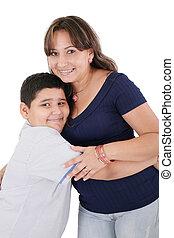 母, ポーズを取る, 一緒に。, 上に, 幸せ, 若い, 隔離された, white., 息子, 彼女