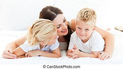 母, 姉妹, かわいい, 男の子, ブロンド, 彼の