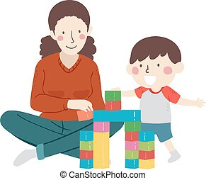 母, 子供, ブロック, プラスチック, 建造しなさい, 男の子