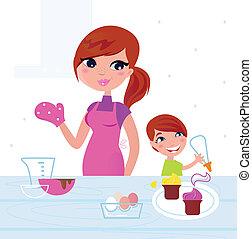 母, 幸せ, 息子, 料理, 台所, 彼女