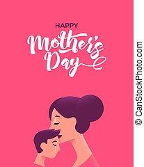 母, 息子, 母, 接吻, 日, カード, 幸せ