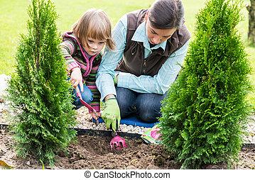 母, 球根を植える, 娘, チューリップ