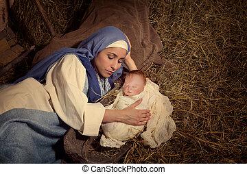 母, 睡眠, イエス・キリスト, クリスマス, mary