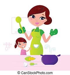母, 食物, 子供, 健康, 料理, 台所