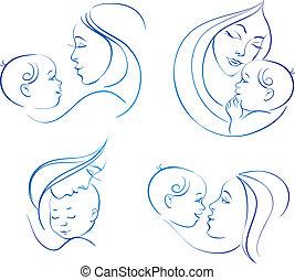 母, baby., 線である, セット, イラスト, シルエット