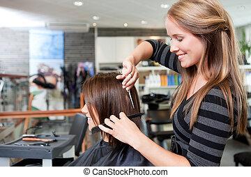 毛の 切断, client's, 美容師