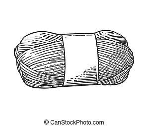 毛織りである, 彫版, knitting., 糸, 型, ヤーン, ベクトル, イラスト, 回転しなさい