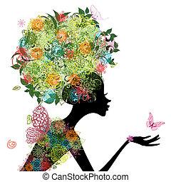 毛, 女の子, ファッション, アラベスク